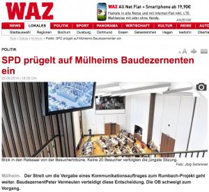 Screenshot der WAZ-BErichterstattung