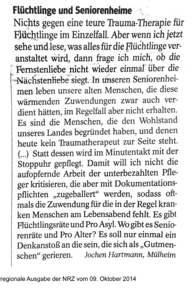 Leserbrief von Jochen Hartmann