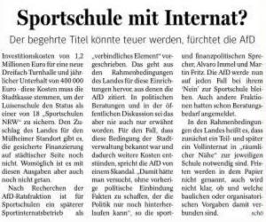 BErichterstattung der NRZ-Mülheim zum Thema »Sportschule«.