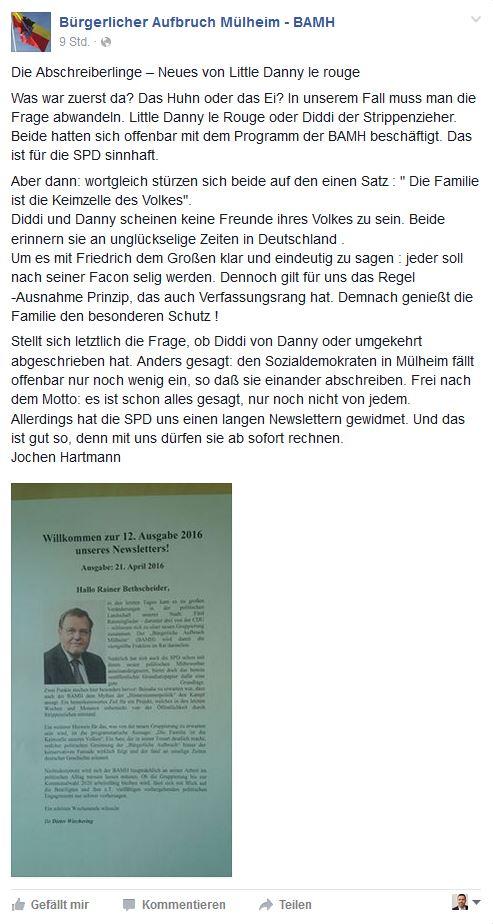 """Die indirekte Reaktion Jochen Hartmanns auf der Facebook-Seite des """"Bürgerlichen Aufbruchs""""."""